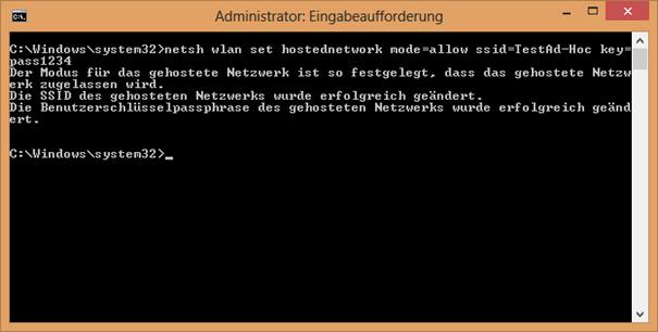 Abbildung 2 Ad-hoc Netzwerk anlegen