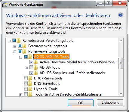 Windows-Funktionen aktivieren oder deaktivieren