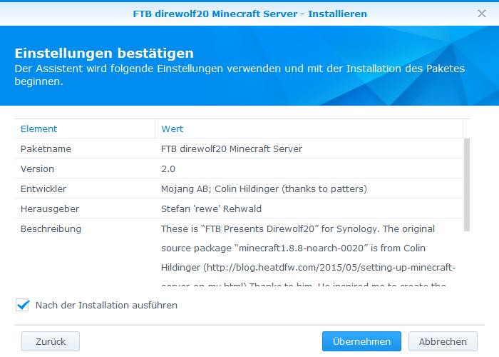 Synology Minecraft Mit FTB Direwolf Auf Einem Synology - Minecraft server erstellen funktioniert nicht