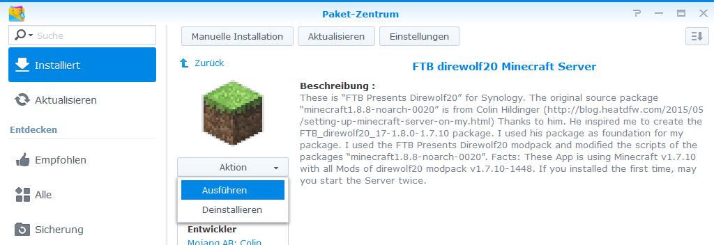 Synology Minecraft Mit FTB Direwolf Auf Einem Synology - Minecraft server erstellen anforderungen